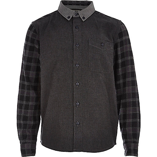 Boys grey block check shirt