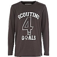 Boys black Scouting for Goals long sleeve top