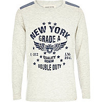 Boys ecru New York long sleeve top