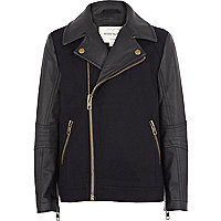 Boys navy PU sleeve melton biker jacket