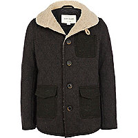 Boys brown borg collar jacket