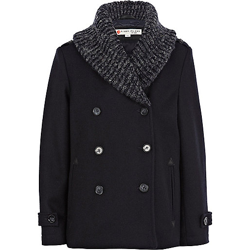 Boys navy shawl collar pea coat