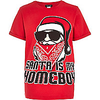 Boys red Santa is my homeboy t-shirt