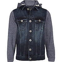 Boys blue jersey sleeve hooded denim jacket