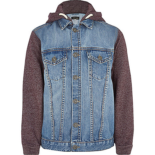 Boys red jersey sleeve hooded denim jacket