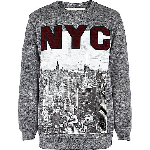 Boys grey NYC grindle sweatshirt
