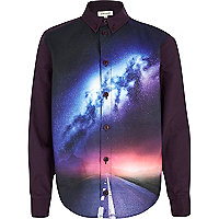 Boys purple road scene long sleeve shirt