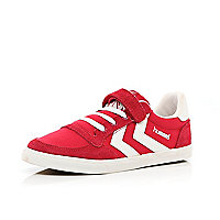 Boys red Hummel canvas trainers