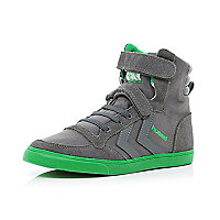 Boys grey Hummel high tops
