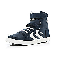 Boys navy Hummel high top trainers
