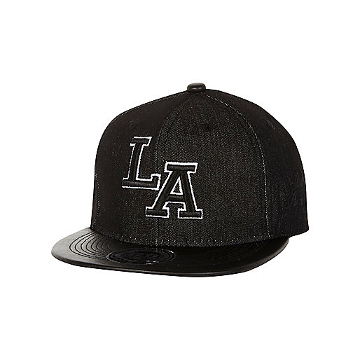 Boys black denim LA trucker hat