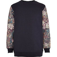 Boys navy floral sleeve sweatshirt