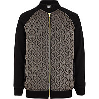 Boys black quilted jersey bomber jacket