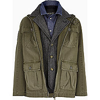 Boys green long sleeve 3-in-1 yale parka