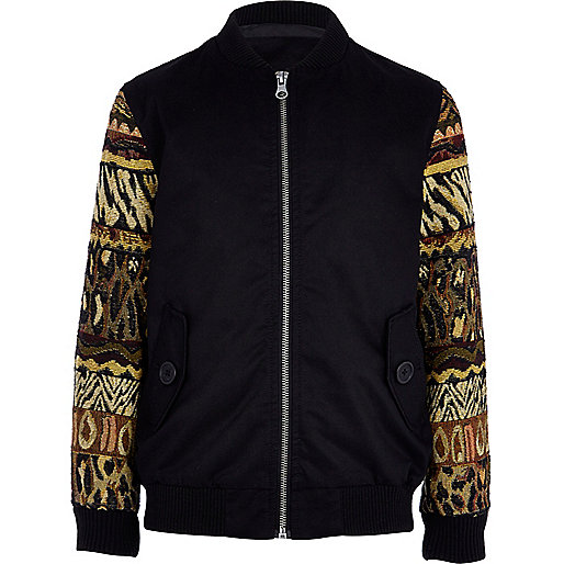 Boys black long sleeve tapestry bomber jacket