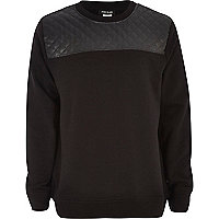 Boys black quilted yoke sweatshirt