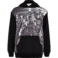 Boys black city print neoprene hoodie