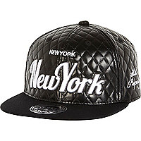 Boys black quilted New York trucker cap