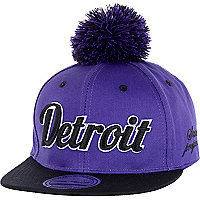 Boys purple Detroit bobble trucker hat