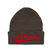 Boys dark grey LA Beanie hat