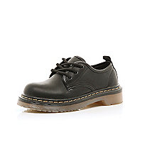 Boys black lace up military shoes