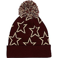 Boys red star print bobble hat