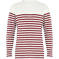 Boys red and ecru stripe long sleeve t-shirt
