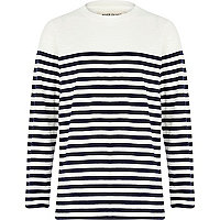 Boys navy and ecru stripe long sleeve t-shirt