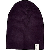 Boys purple ribbed beanie hat