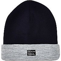 Boys navy and grey beanie