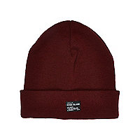Boys dark red RI patch beanie hat