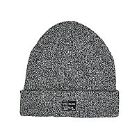 Boys black twist RI patch beanie hat