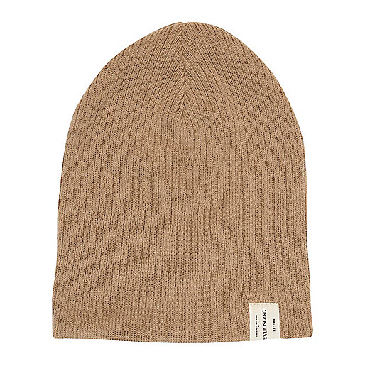 Boys beige twist knit beanie