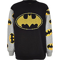 Boys black contrast sleeve Batman sweatshirt