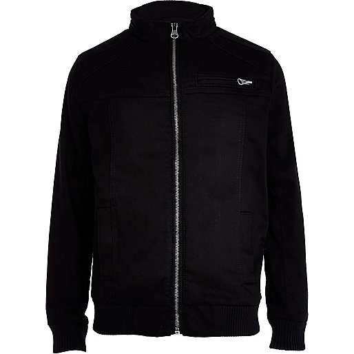 Boys black long sleeve bombadier jacket