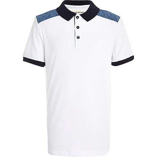 Boys white shoulder patch polo shirt