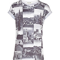 Boys grey USA photo collage t-shirt