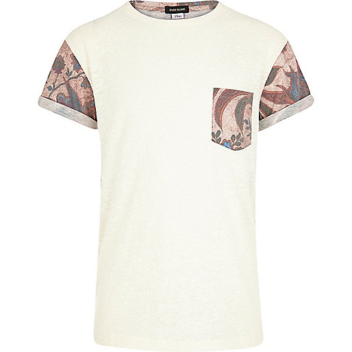 Boys ecru floral back t-shirt