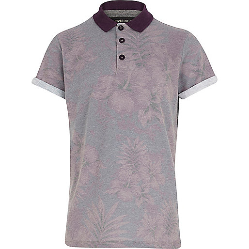 Boys grey hibiscus print polo shirt
