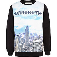 Boys black Brooklyn print sweatshirt