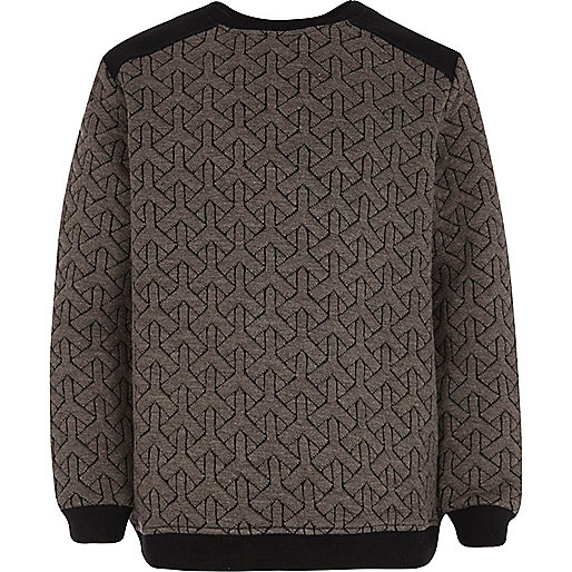 Boys dark grey quilted sweatshirt
