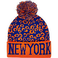 Boys blue leopard New York bobble beanie hat