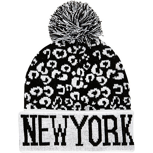 Boys black leopard New York bobble beanie hat