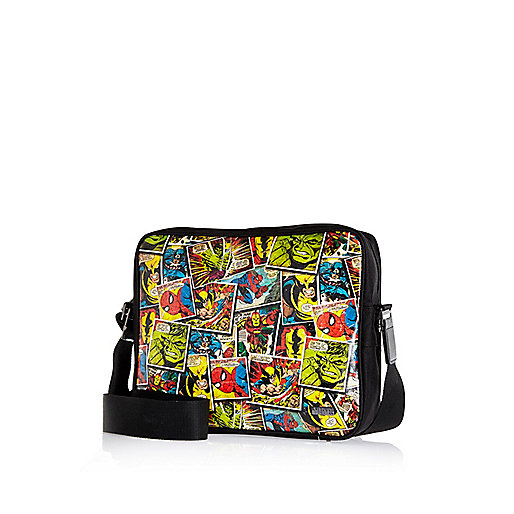 Boys black Marvel comics messenger bag
