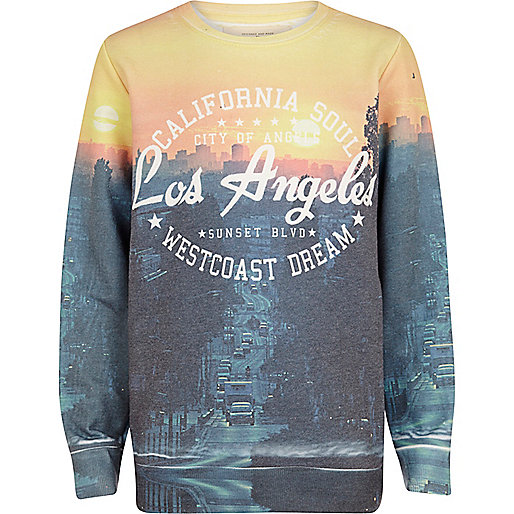 Boys navy LA sublimation print sweatshirt