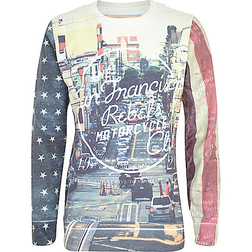 Boys ecru San Fran rebels sweatshirt