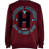 Boys dark red skater academy sweatshirt