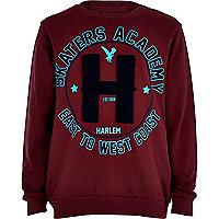 Boys dark red skater academy sweatshirt
