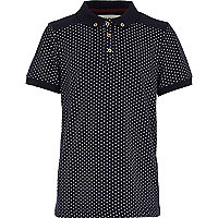 Boys navy spot polo shirt