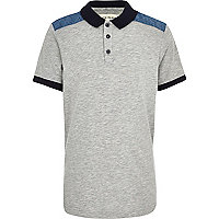 Boys grey shoulder patch polo shirt